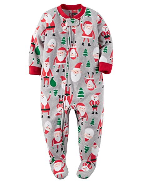 carters newborn first christmas footed pajamas wsanta