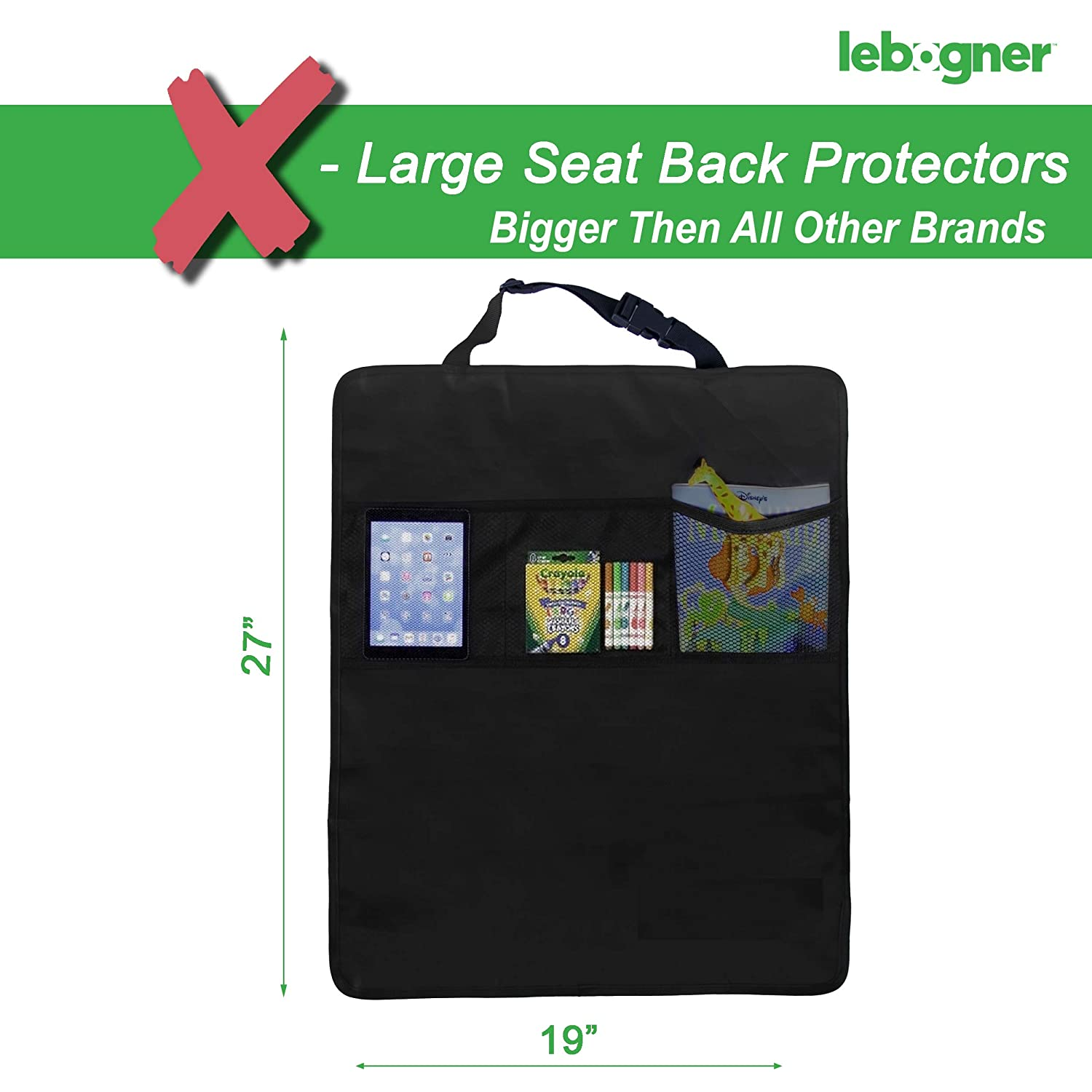 Backseat Child Kick Guard Seat Saver 2 Pack Waterproof Fabric Seat Cover For The Back Of Your Seat Lebogner Kick Mat Auto Seat Back Protectors X-Large Car Back Seat Protectors 3 Organizer Pockets