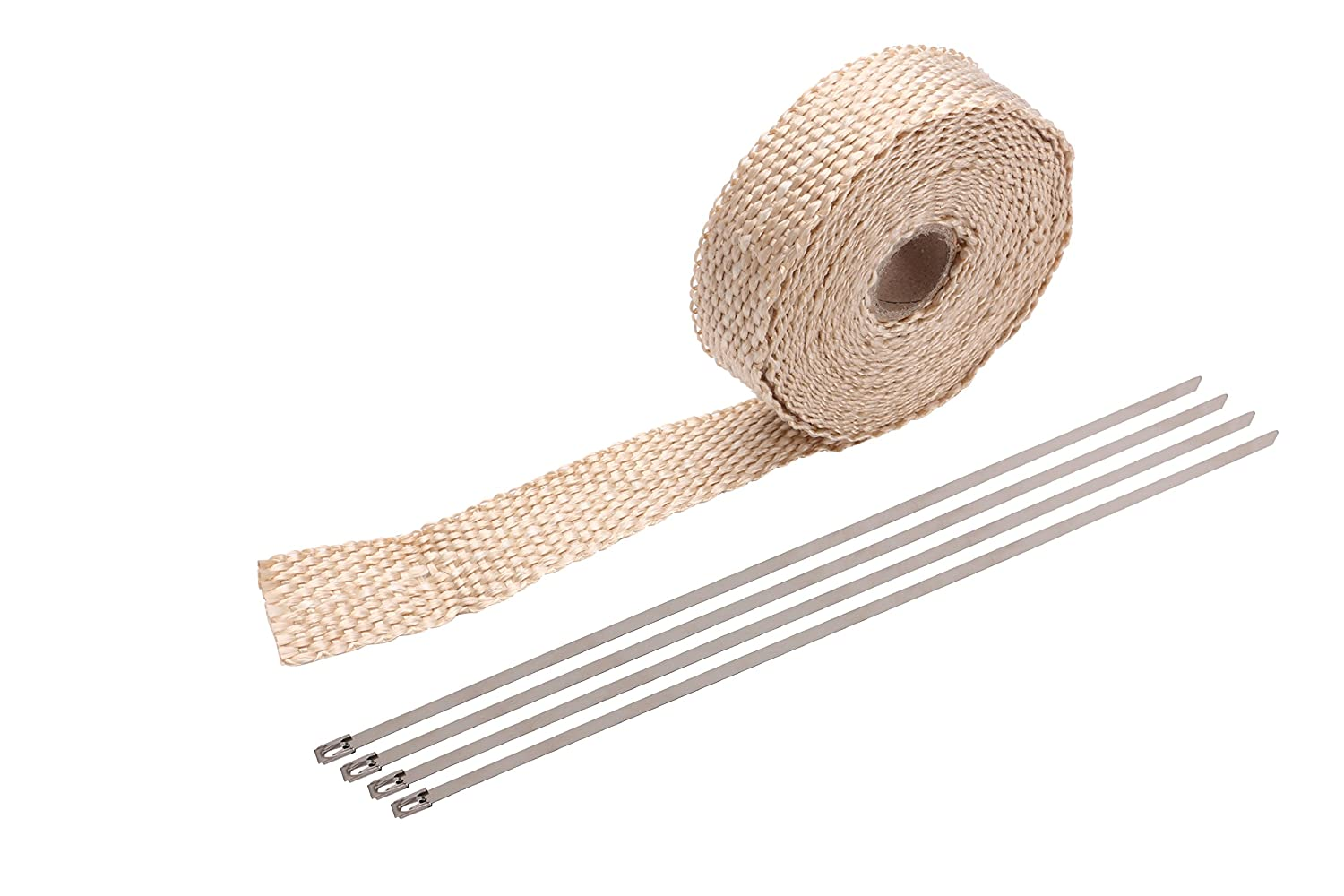 Titanium Exhaust Wrap 2 x 50 Roll for Motorcycle Fiberglass Heat Shield Tape with Stainless Ties Pacewalker