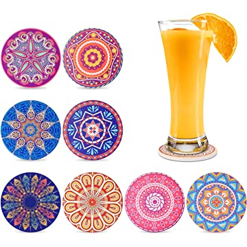 Coasters for Drinks Coasters Absorbent with Holder Ceramic Stone Coasters Mandala Style Coasters 8 Pack for Friends, Men, Women, Housewarming, Birthday, Living Room Decor