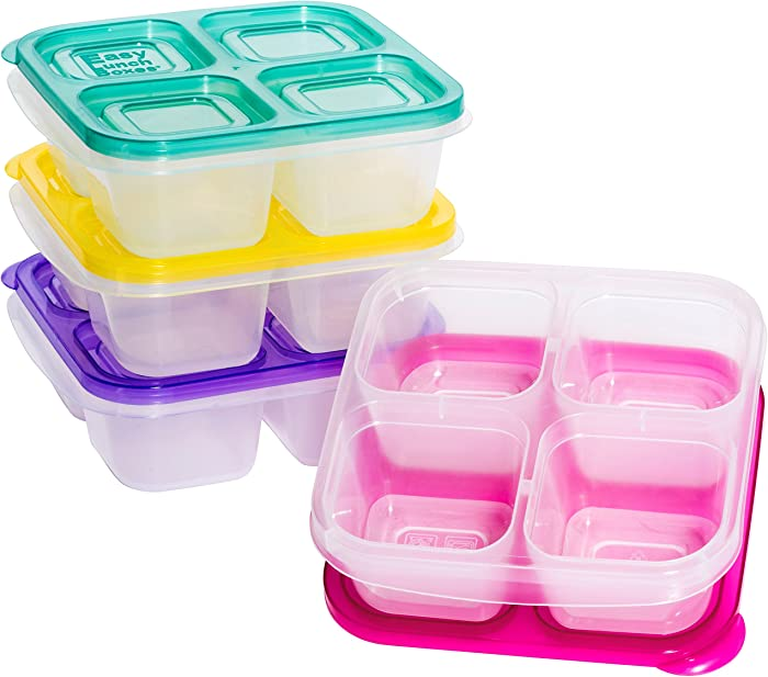 EasyLunchboxes ELB5-snack Snack Box Food Containers, 4-Compartment, Set of 4, Brights