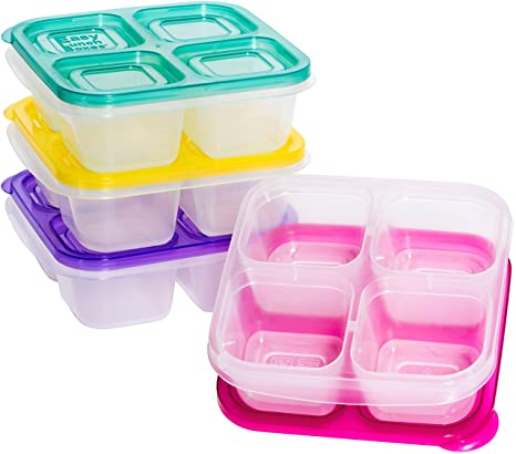 6c6bc920df35 EasyLunchboxes ELB5-snack Snack Box Food Containers, 4-Compartment, Set of  4, Brights