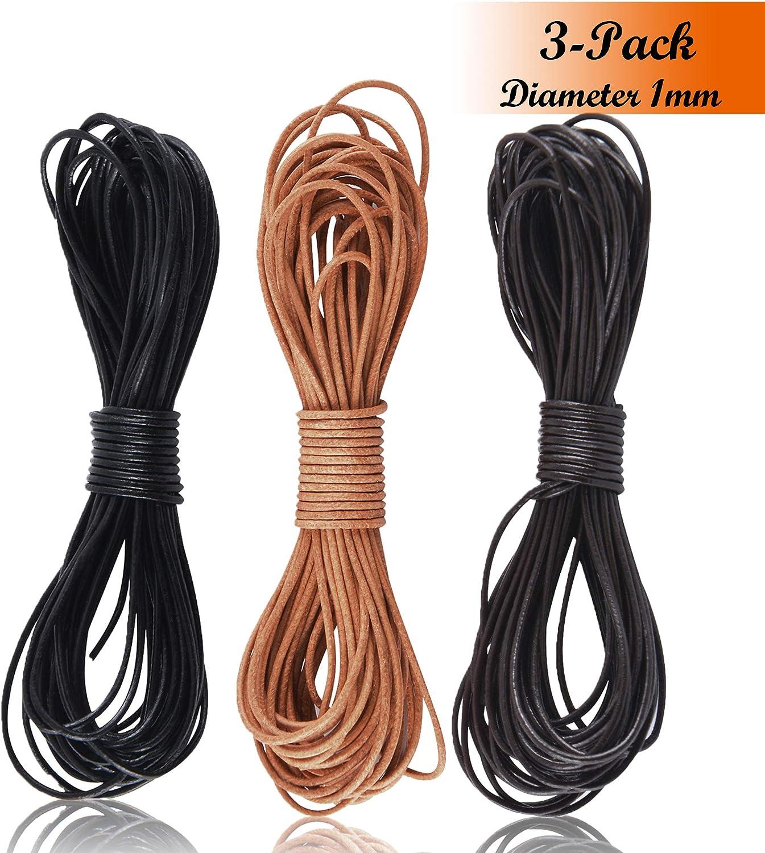 SOSMAR 3 rollos de cuero de vaca redondo, cuerda de cuerda, para pulsera, collar, joyería, manualidades, negro, marrón oscuro, marrón natural, cordón de cuero genuino, negro, 1MM * 5M*3 Colours