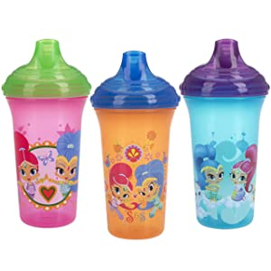 Nuby 3 Piece No Spill Easy Sippy Cups with Vari-Flo Valve Hard Spout, 9 Oz, Nickelodeon Shimmer & Shine