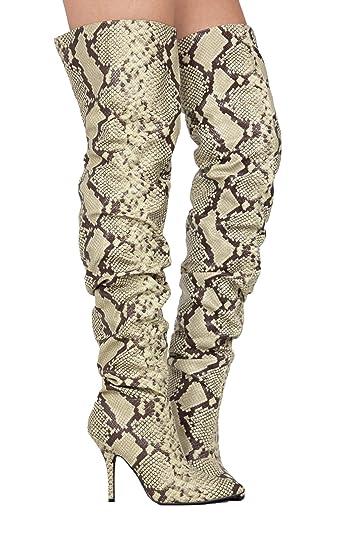 4aa5564d0b2 Amazon.com   Michelle Parker Cape Robbin Bown Snake Thigh High ...