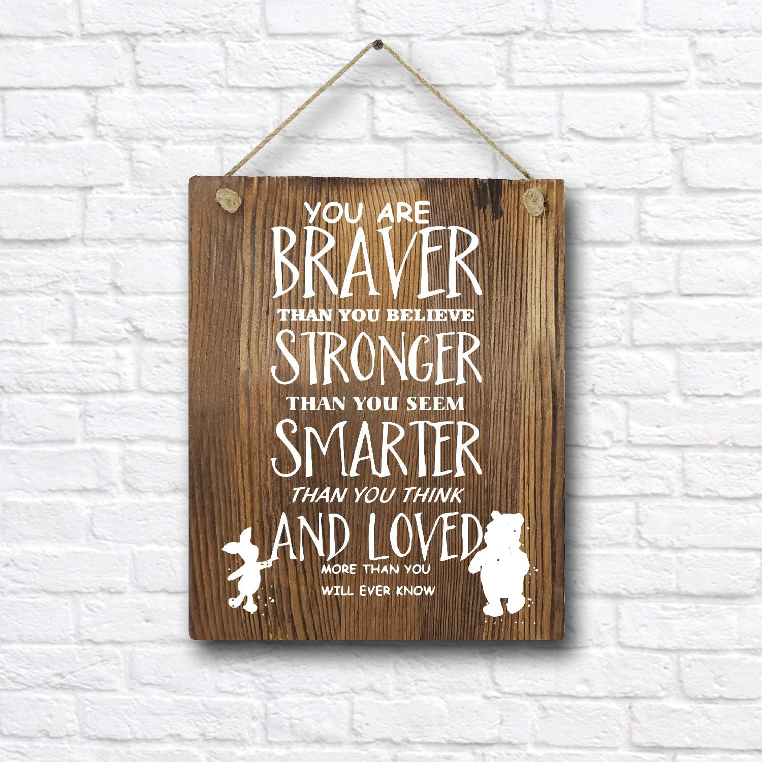 """Classic Winnie The Pooh Quotes and Saying Rustic Wood Wall Art Decor- 8""""x10"""" Wooden Hanging Art - Motivational Inspirational Classroom Office Child/Boy/Girl/Nursery Room Decor"""