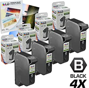 LD Remanufactured Ink Cartridge Replacements for HP 45 51645A (Black, 4-Pack)