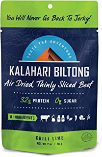 product image for Lime Chili Kalahari Biltong, Air-Dried Thinly Sliced Beef, 2oz (Pack of 1), Sugar Free, Gluten Free, Keto & Paleo, High Protein Snack