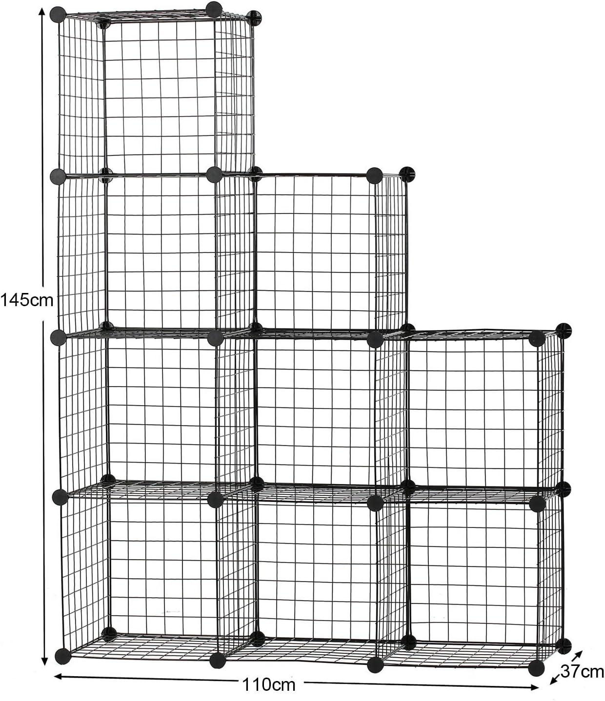 libros 110 cm x 37 cm x 145 cm cubos modulares BASTUO 9 cubos de almacenamiento de alambre para librer/ía color negro armario para juguetes ropa estanter/ía