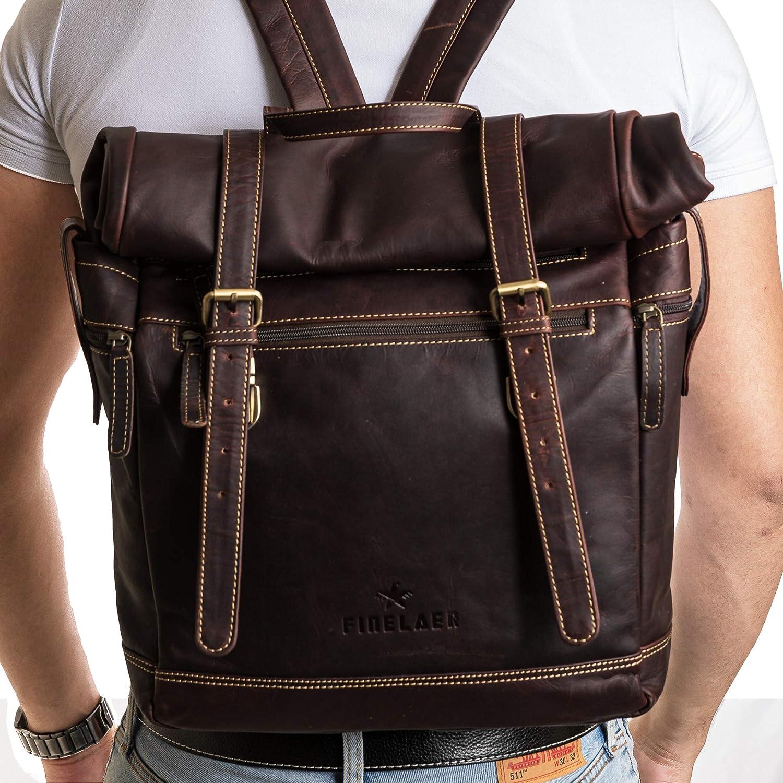 Finelaer Vintage Dark Brown Leather Roll Top Rucksack Daypack Backpack
