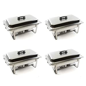 Alpha Living 4 Pack 8QT Chafing Dish High Grade Stainless Steel Chafer Complete Set