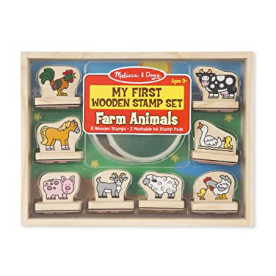Melissa & Doug First Wooden Stamp Set – Farm Animals: Toy: Toys & Games
