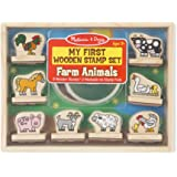 Melissa and Doug MD2390 Farm Animals My First Wooden Stamp Set,Brown and Green