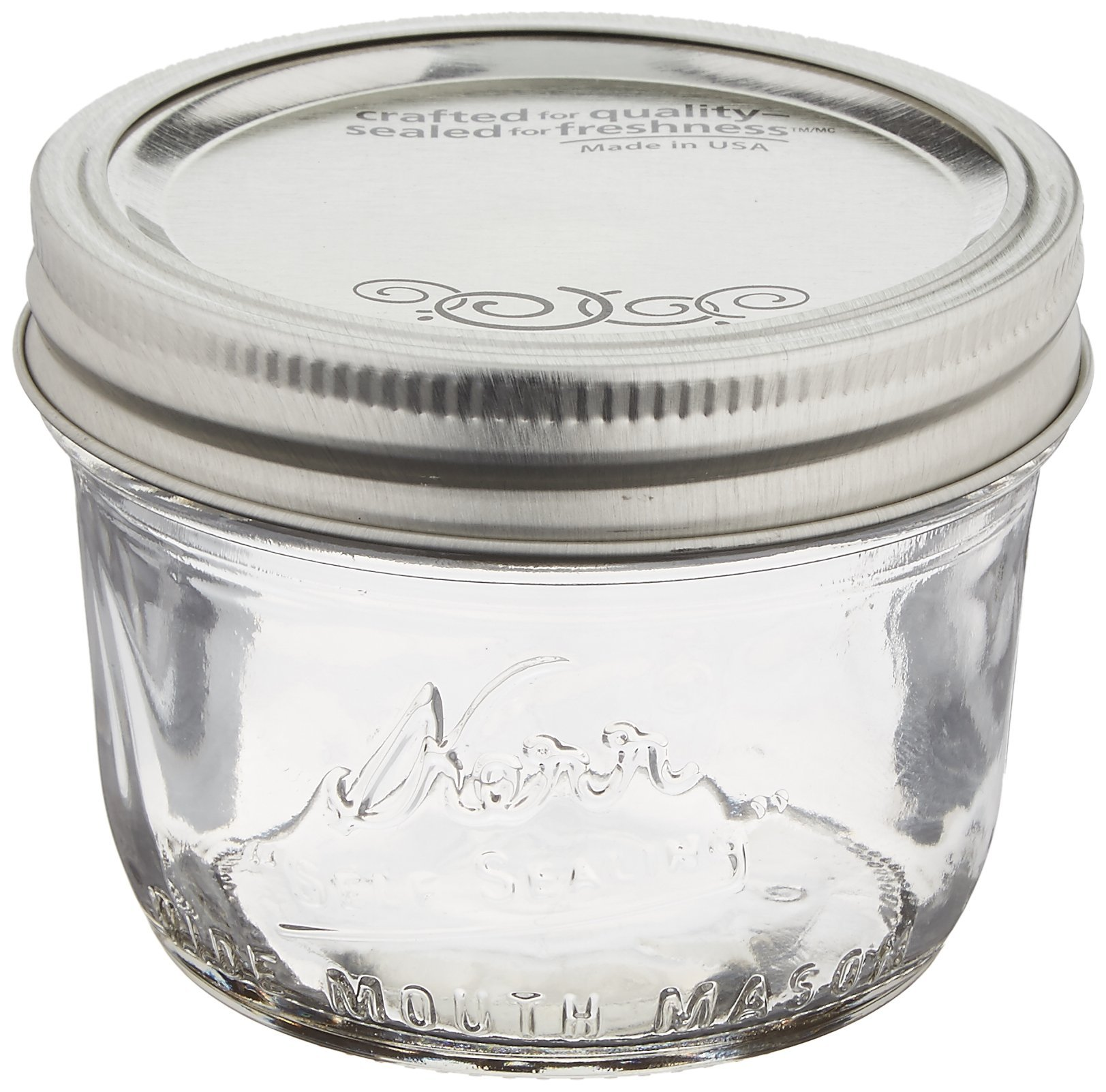 Jarden Kerr Wide Mouth Half-Pint Glass Mason Jars 8-Ounces with Lids and Bands 12-Count per Case (1-Case)