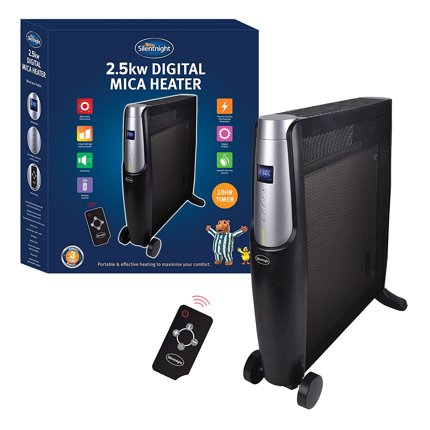 SILENTNIGHT Digital Mica Heater, 2500 Watt, Black, with Remote Control, heats up in 60 seconds, Oil Free Benross Group 38100