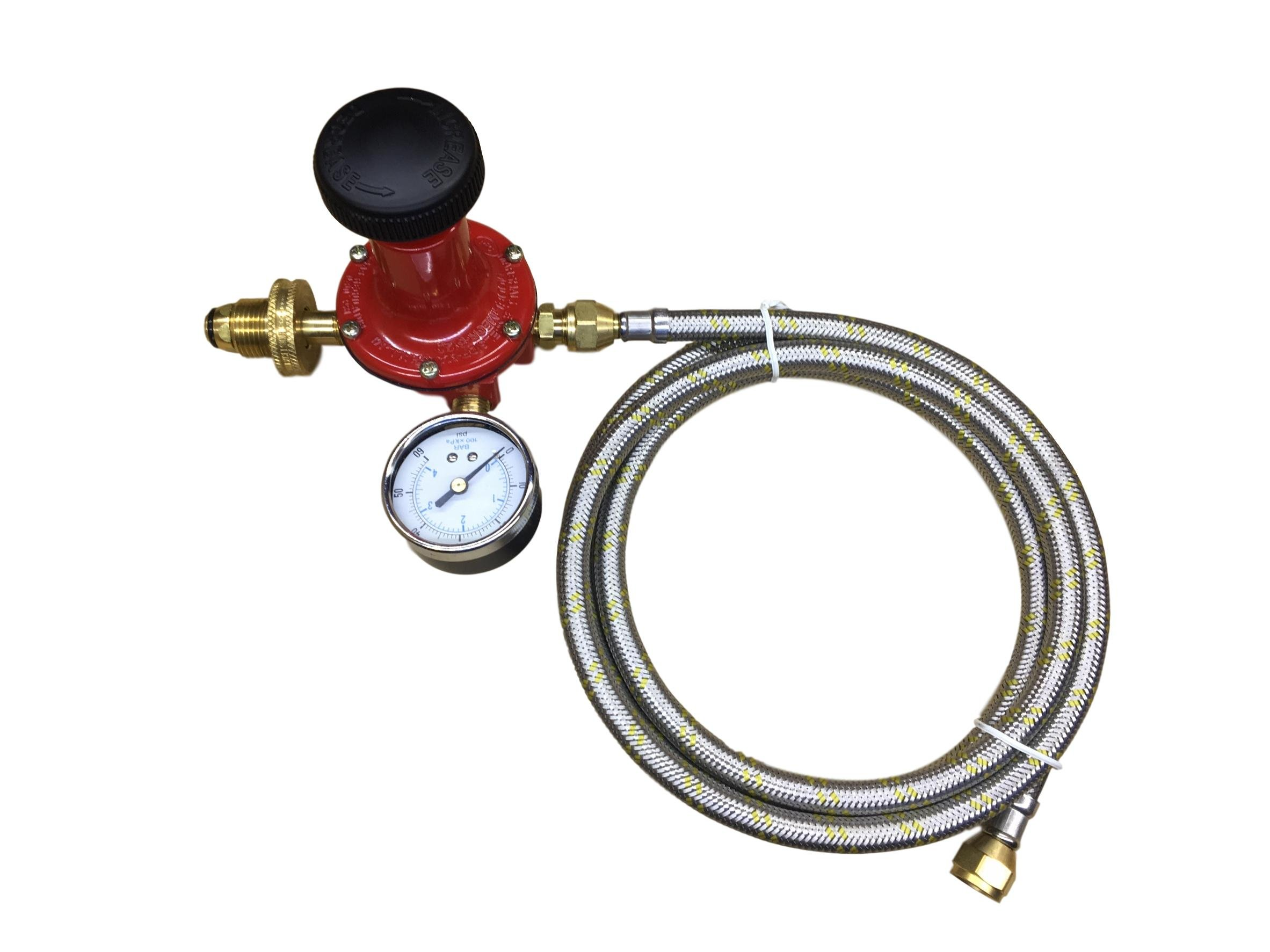 Propane LP Gas Adjustable 0-60psi High Pressure Regulator Soft Nose POL Brass Wheel Connector, Gauge and 16ft Stainless Steel Braided Hose