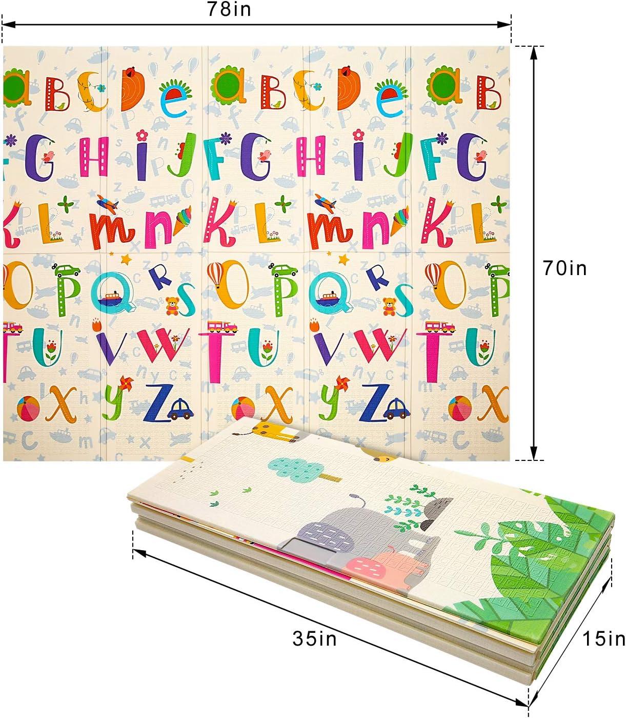 Tapis Pliable Imperm/éable Non Toxique pour Enfant Extra Grand Tapis de Jeu pour B/éb/é For/êt verte + zoo 180 x 200 x 1cm Tapis /Épaissie