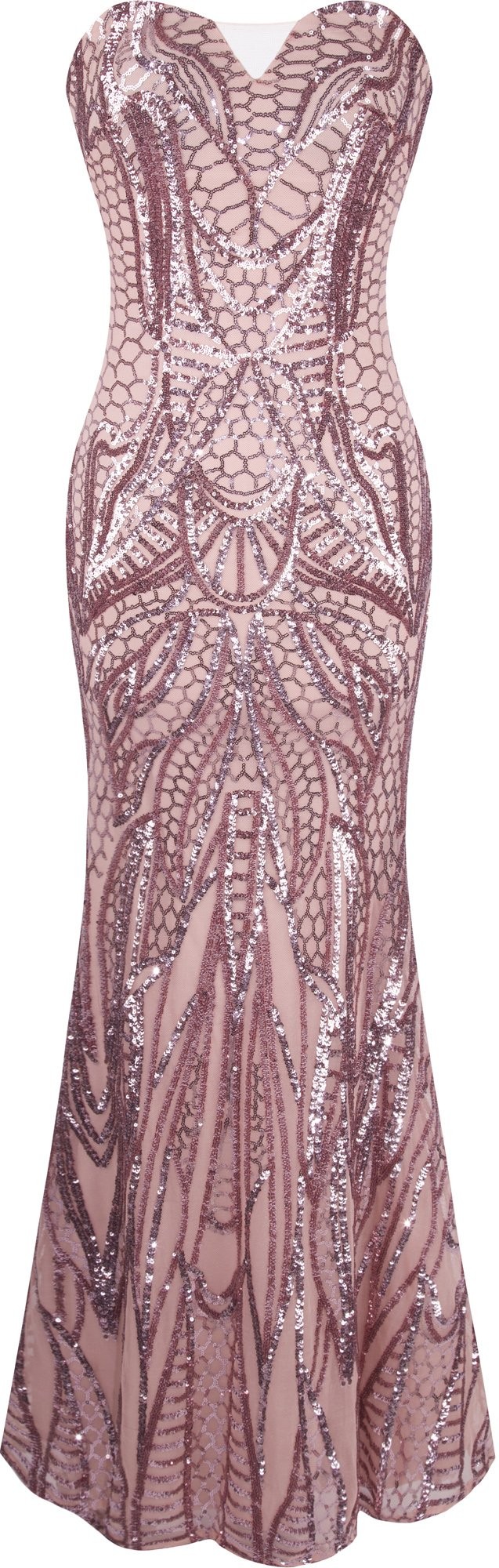 Angel-fashions Women's Notched Strapless Paillette Column Sheath Prom Dress XXLarge