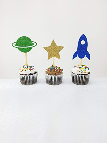 Amazon Com Outer Space Cupcake Topper 12 Ct Space Baby Shower