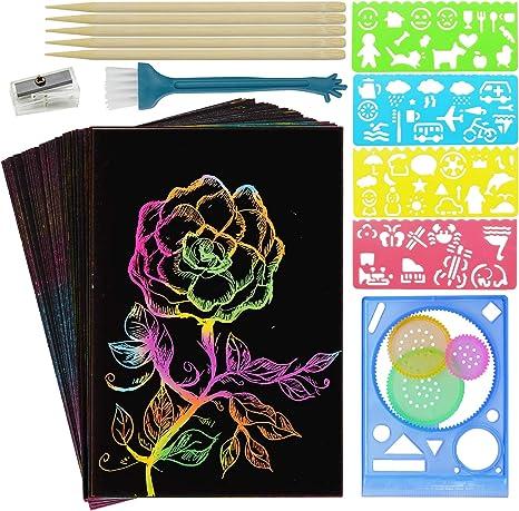 XCH Scratch Art Set for Kids 59 Pcs Rainbow Magic Scratch Paper Craft Kits for Girls Boys Toys Birthday
