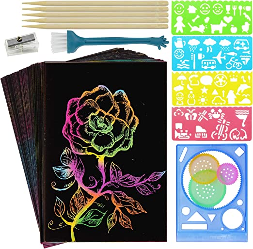 Cover 5 Stylus Pencil Sharpener and Gift Box HELLO PAPAYA Scratch Art Paper for Kids- 62 Pcs Rainbow Scratch Arts and Crafts Supplies Kits Boards for Party Games Birthday Easter Brush 4 Stencils