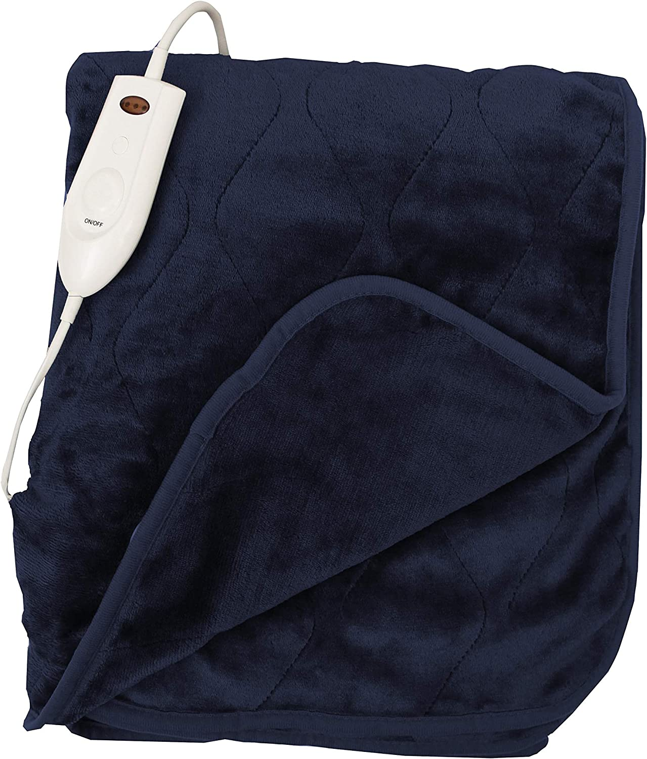 "Quilted Secure Comfort Technology Electronic Heated Throw Blanket 51"" x 63"" 3 Heat Settings Auto Shut Off Fast Heating for Full Body Warming (Navy)"