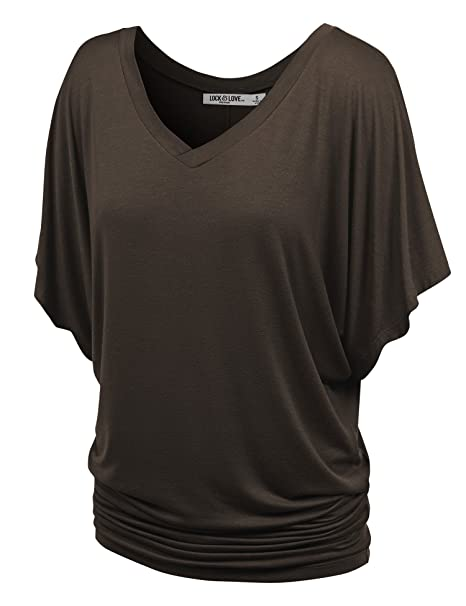 3ad6ac649ae7b Lock and Love WT1038 Womens V Neck Short Sleeve Dolman Top XS Brown