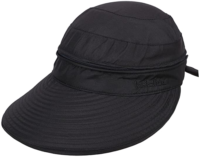 6aadca3d Simplicity Women's UPF 50+ UV Sun Protective Convertible Beach Hat Visor  Black