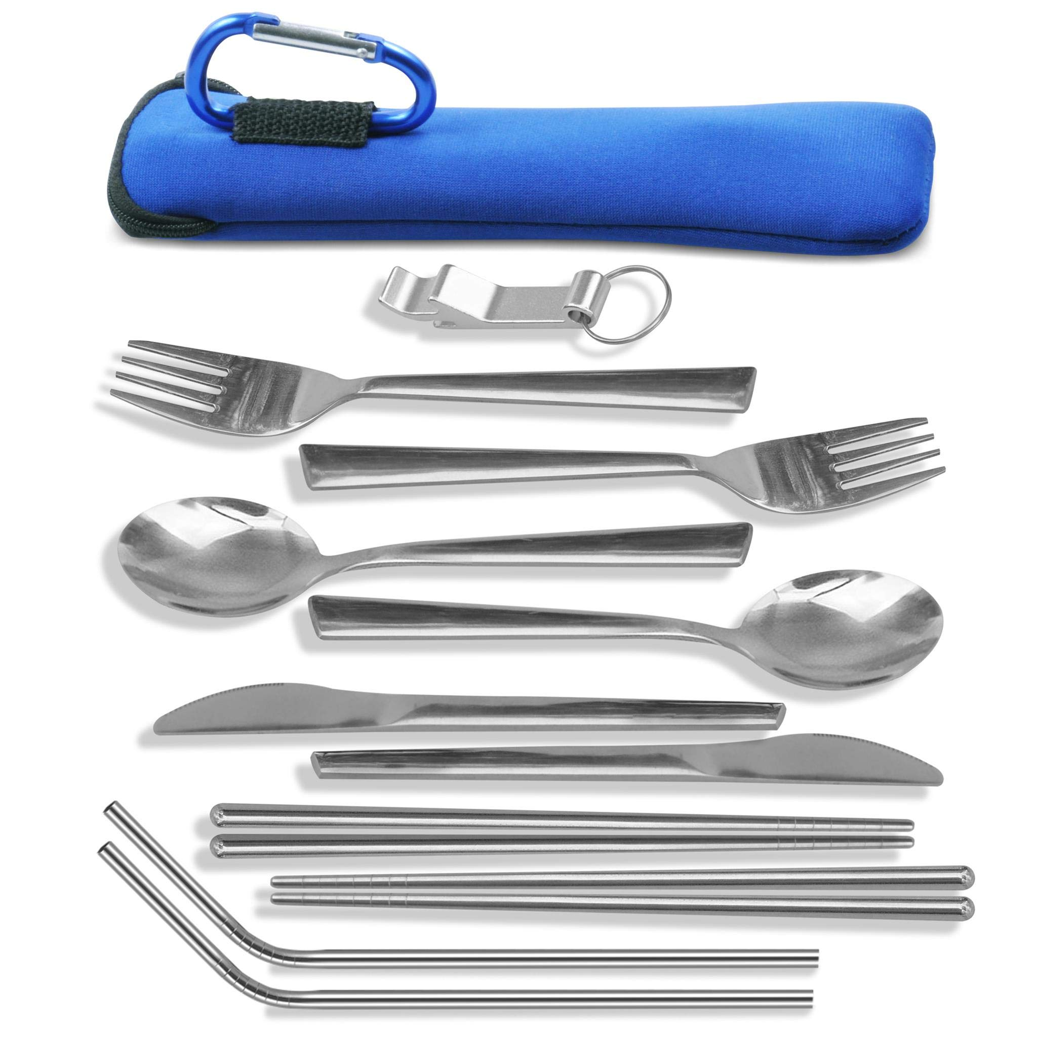 Unbreakable Camping Eating Utensils Kit - 2-Person Stainless Steel Utensils Set - Portable Mess Kit With Neoprene Case, Backpack Hanging Carabiner, Chopsticks & Bottle Opener (with 2 straws)