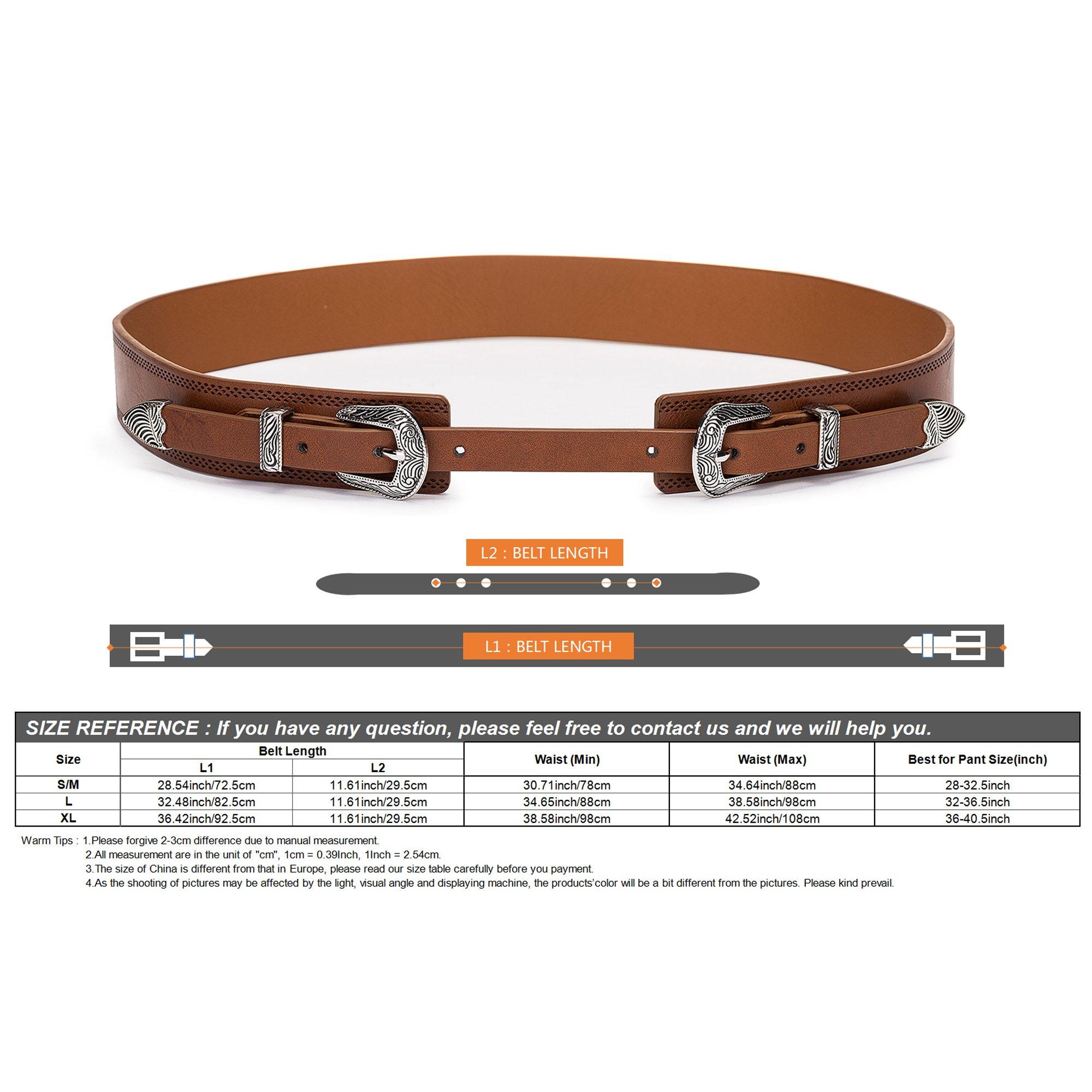 Tanpie Western Leather Belt for Women Boho Waist Belt with Designer Metal Double Buckle Yellow Brown L by Tanpie (Image #5)