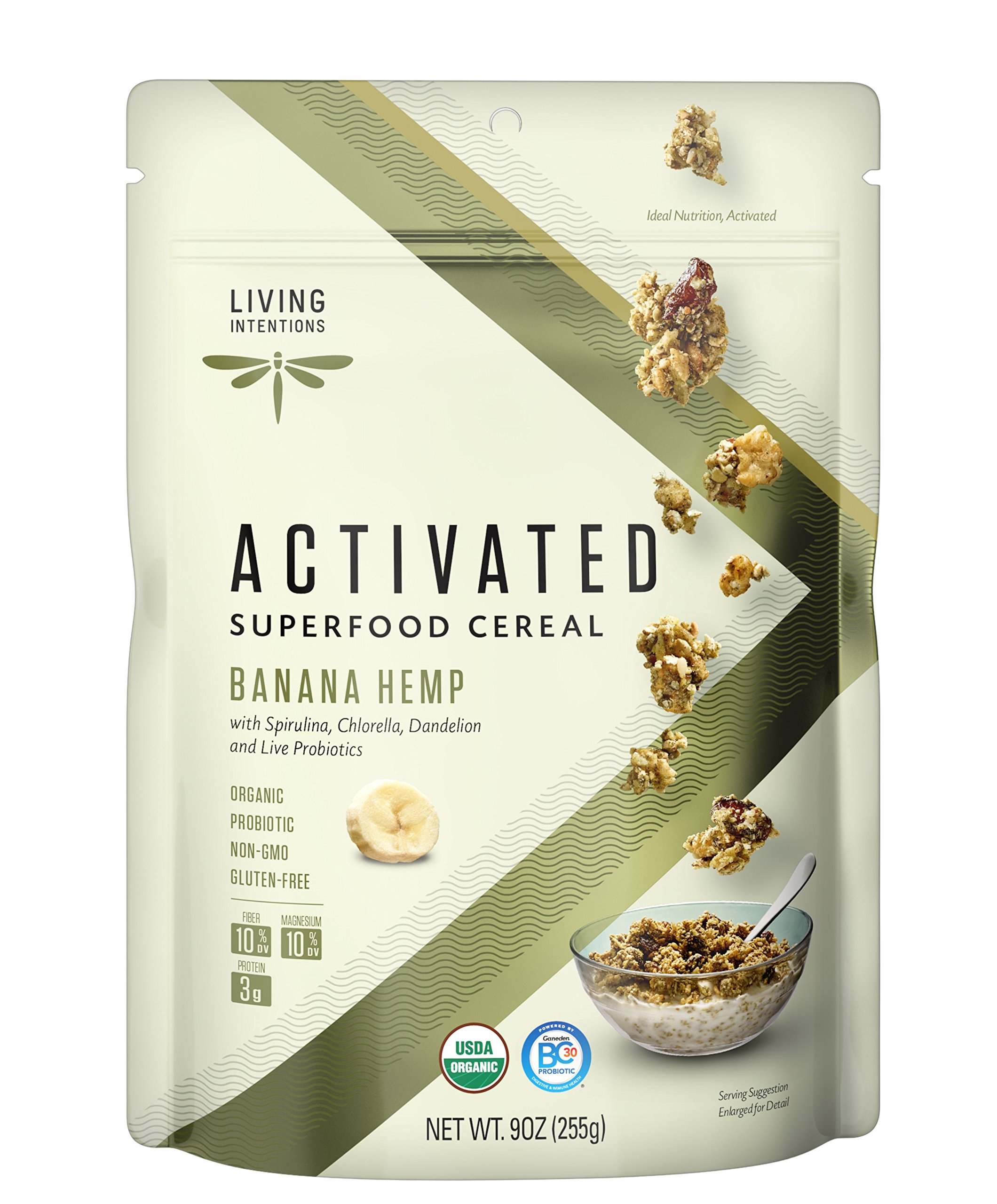 Living Intentions Activated Superfood Cereal, Gluten Free, Vegan, Organic, Banana Hemp, 9 Ounce