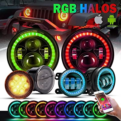 "T-Former Dot 7 Inch LED RGB Halo Headlights,4"" RGB Fog Lights Multi Color Angel Eye Bluetooth Controlled,Amber Turn Signal Lights for 2007-2020Jeep Wrangler JK JKU Rubicon Unlimited: Automotive"
