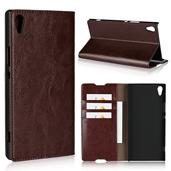 separation shoes a639e fbdfb Sony Xperia XA1 Ultra Case,iCoverCase Genuine Leather Wallet Case [Slim  Fit] Folio Book Design with Stand and Card Slots Flip Case Cover for Sony  ...
