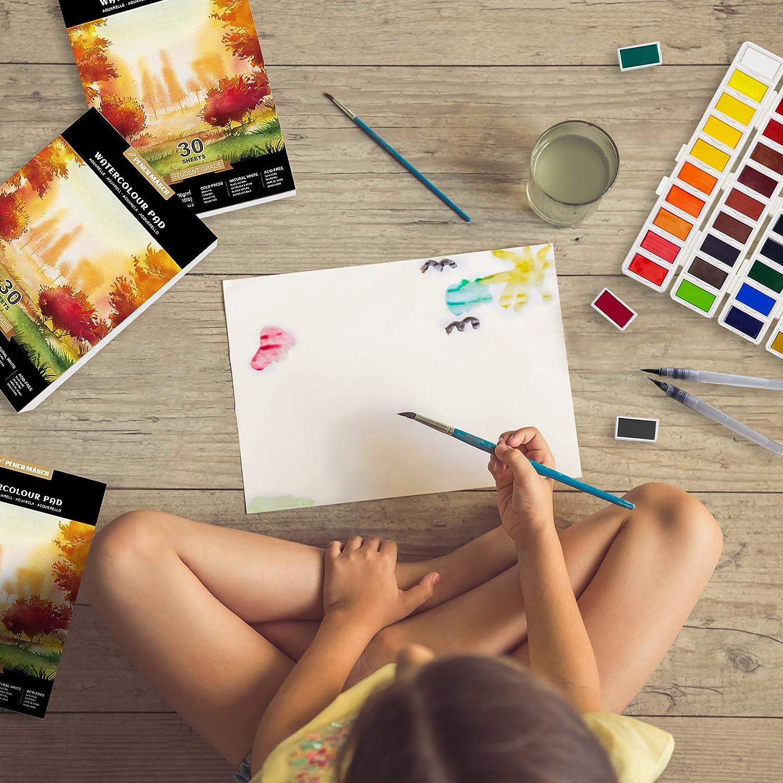30 fogli Carta per acquerello , 60 Foglio per pittura ad acquerello , Stampato a freddo , 140lb ideale per i viaggi 300gsm Pad Blocco da disegno ad acquerello 2 A5