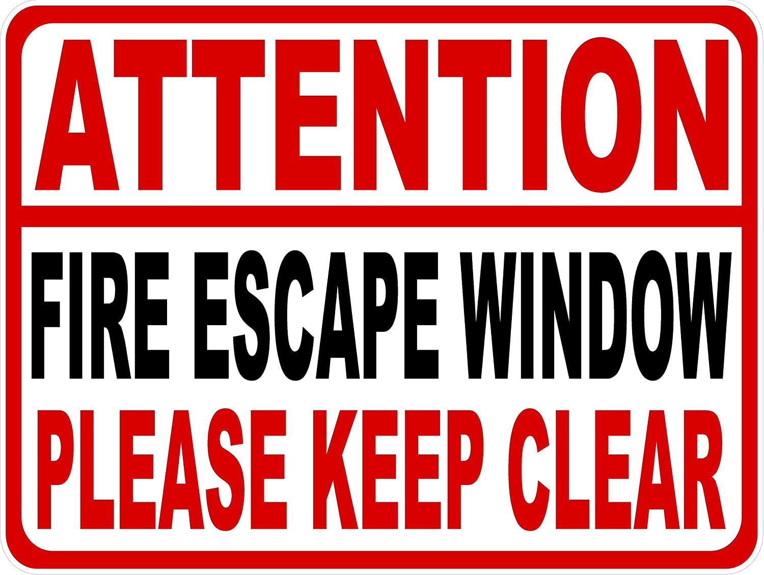 5 Pack 4x6 Attention Fire Escape Window Please Keep Clear Decal Made in USA. 5-Decals Workplace Safety Decal