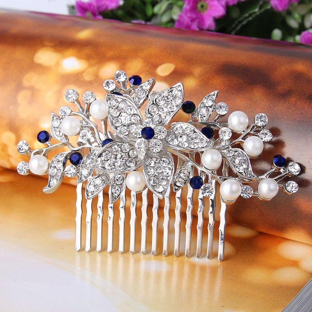 EVER FAITH Silver-Tone Crystal Simulated Pearl Flower Leaf Vine Hair Comb Blue Sapphire-color by EVER FAITH (Image #2)