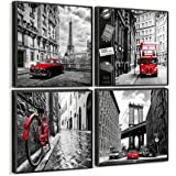 "Amazon Price History:Canvas Prints Wall Decor Art Home Decorations Black and White with Red Photos Framed City Modern Artwork Eiffel Tower Paris Pictures for Office Kitchen Bathroom Set of 4 Piece 12"" X 12"" Each Panel"
