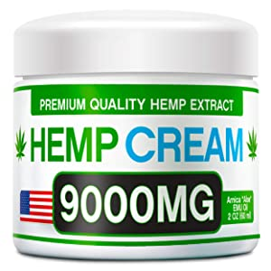 Hemp Pain Relief Cream - 9000 MG - Natural Hemp Extract Relieves Inflammation, Knee, Muscle, Joint & Back Pain - Contains Arnica, MSM & EMU Oil - Non-GMO - Made in USA