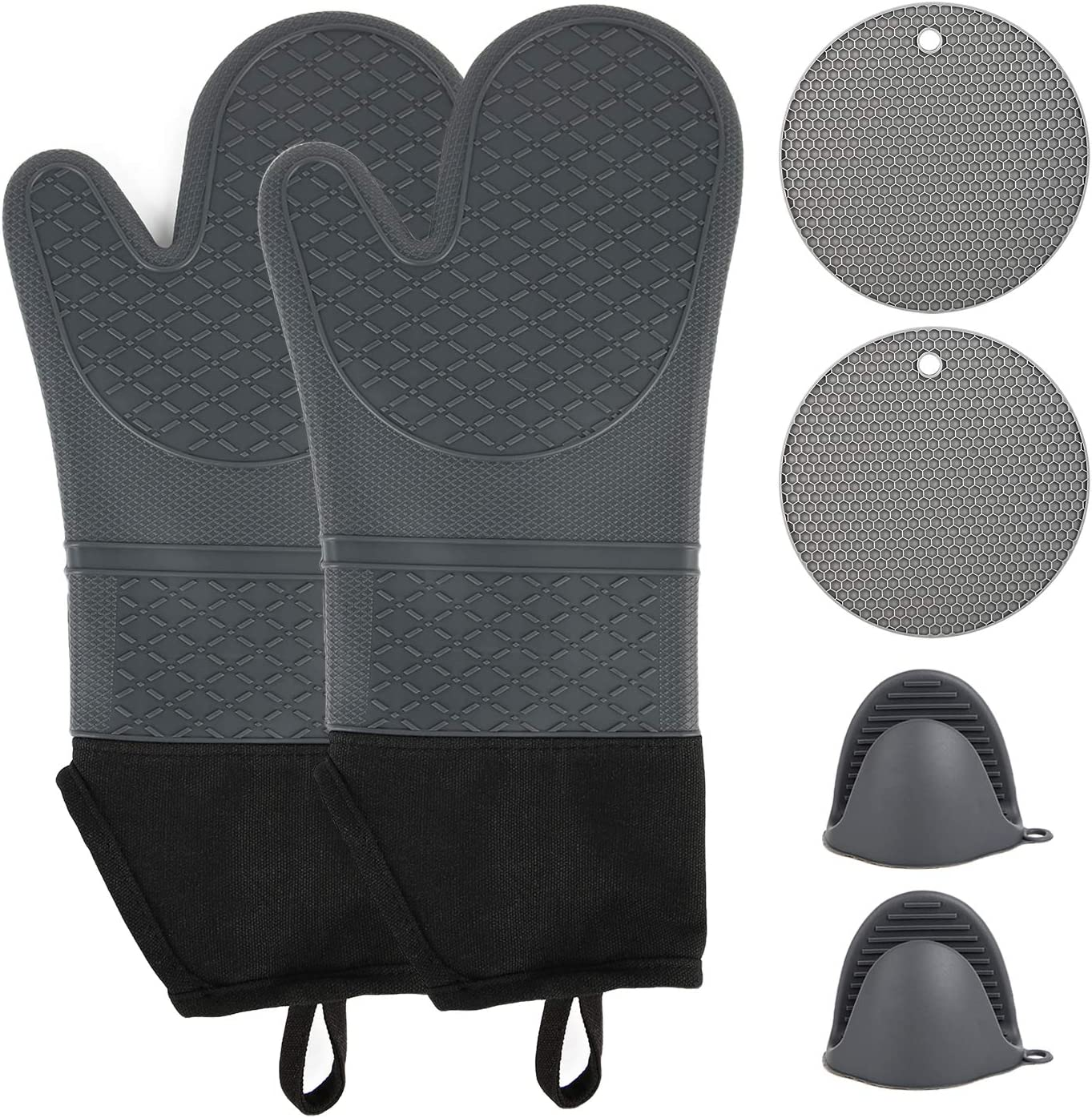 wellvo 6 Pack Extra Long Oven Mitts and Pot Holders Set 500℉ Heat Resistant Food Grade Silicone Non-Slip Gloves Potholders Pads for Cooking Baking BBQ(Grey)