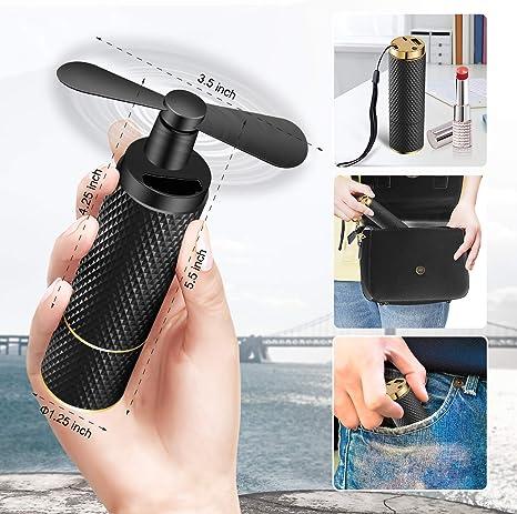 ventilateur de refroidissement pour femme batterie rechargeable 2200mAh pour le voyage Noir mat petit ventilateur USB temps de travail 8-12h C/&Xanadu shopping et football Ventilateurs /à main