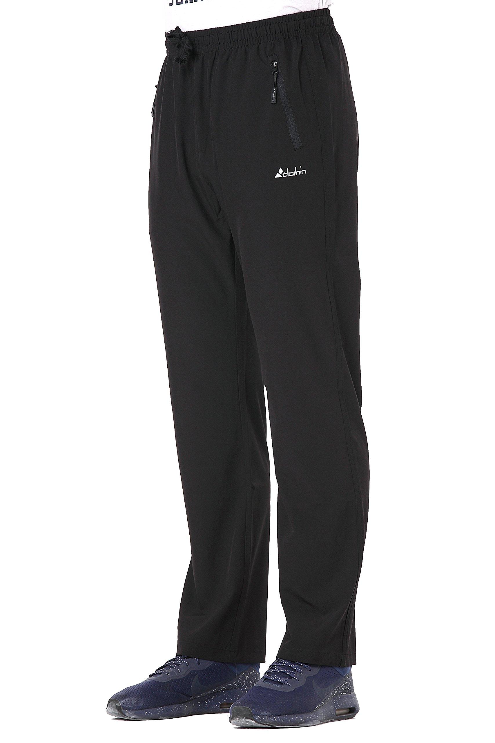 Clothin Men's Stretch Elastic-Waist Drawstring Pants With Front Zipper Pockets,Black,XL (37-40W31.5L/Regular)