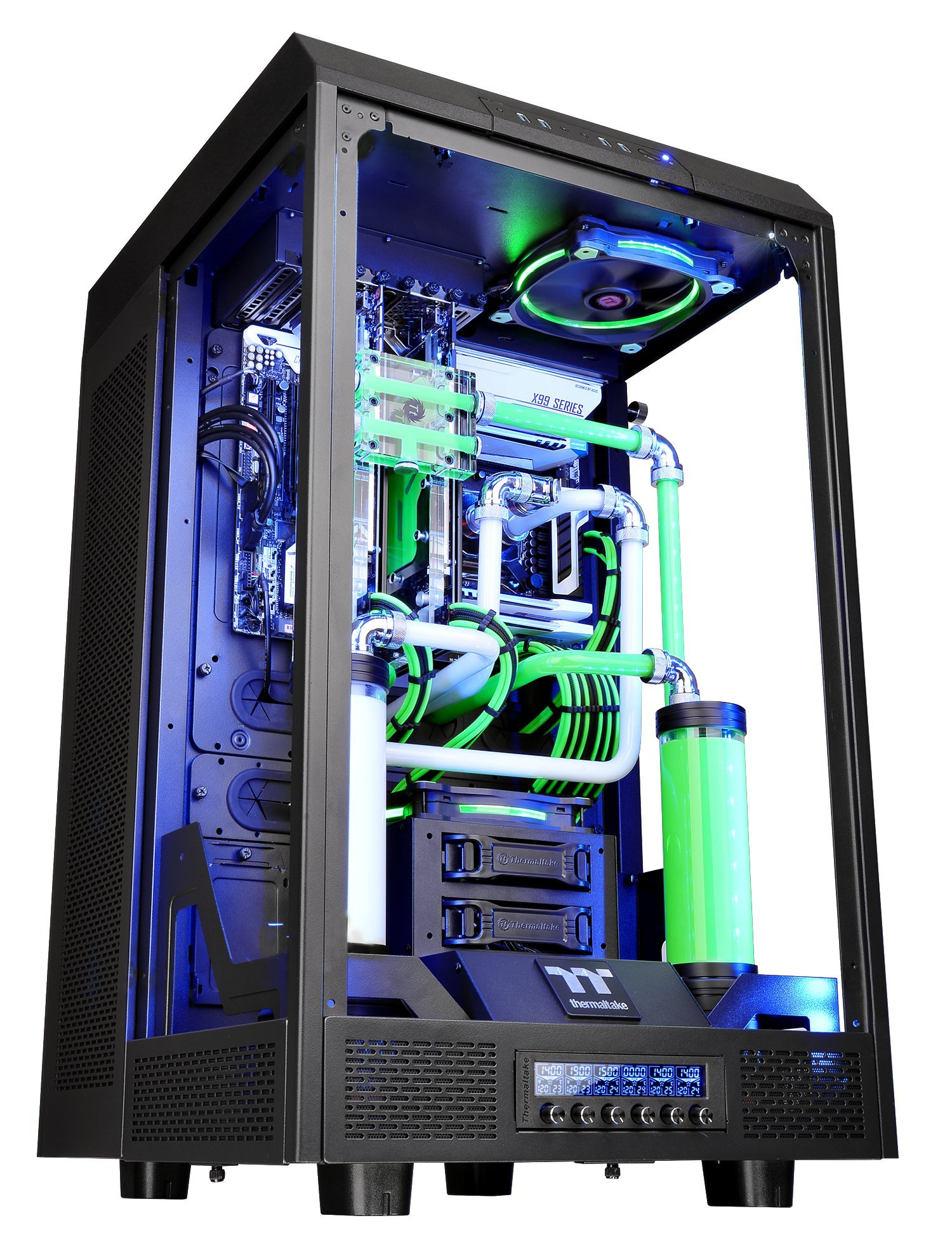 Thermaltake Tower 900 Black Edition Tempered Glass Fully Modular E-ATX Vertical Super Tower Computer Chassis CA-1H1-00F1WN-00 by Thermaltake