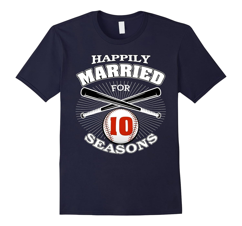 10th Wedding Anniversary T-Shirt Baseball Couple Gift Shirt-Art