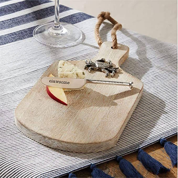 Mud Pie Clawsome Crab Cheese Board Set Size board 10 1//4 x 5 1//2 spreader 5 1//4 47500049