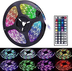 Led Strip Lights, SUNNEST 16.4Ft Waterproof RGB LED Light Strip 5050 300LEDs Flexible LED Tape Lights, Color Changing LED Light Strips Kit for Home, Bedroom, Bar, TV Backlight, Kitchen, DIY Decoration