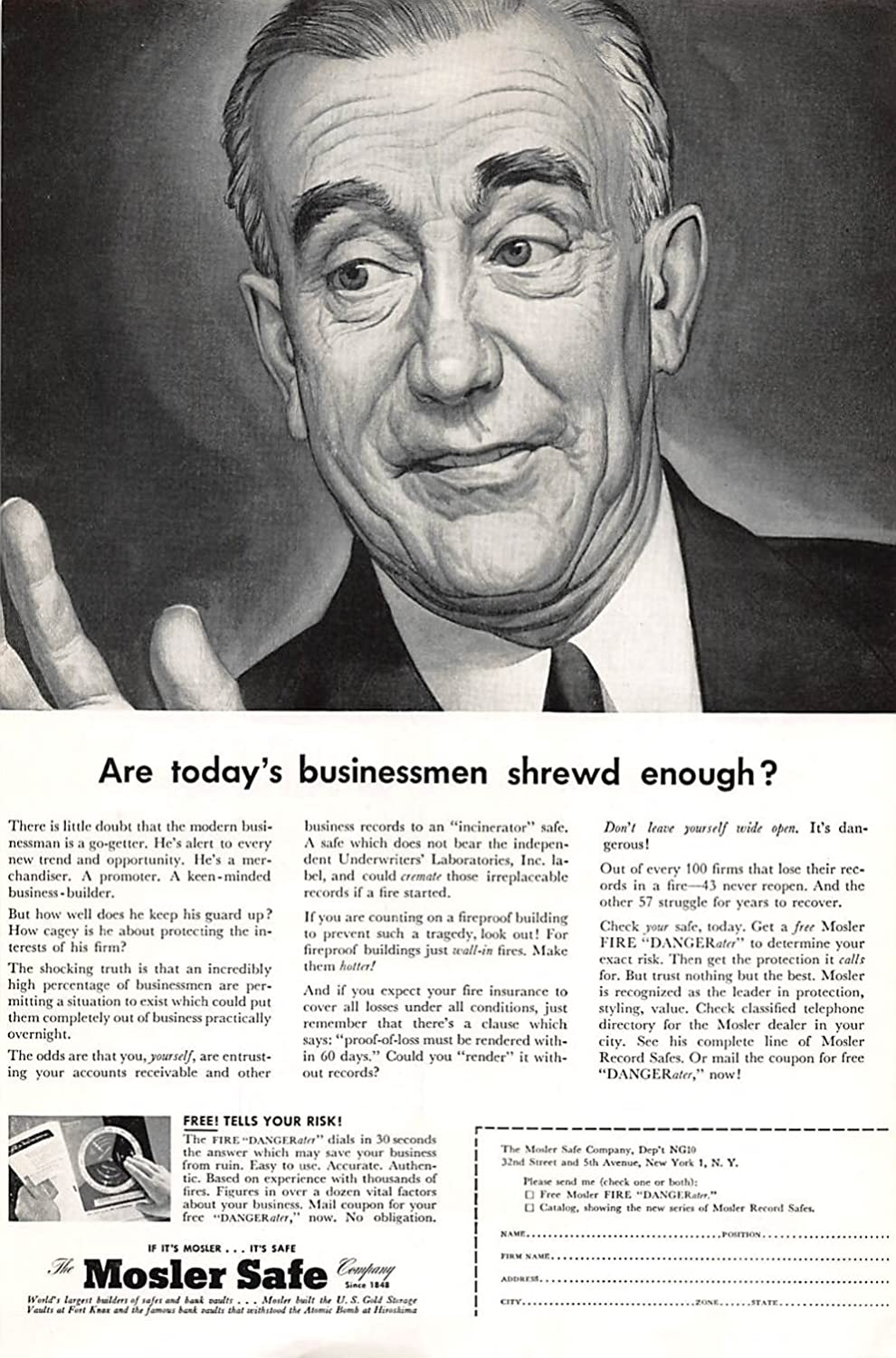 Amazon com: Print Ad 1954 Mosler Safe Are today's businessmen shrewd