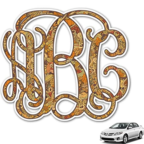 Amazoncom Happy Thanksgiving Monogram Car Decal Personalized - Monogram car decal amazon