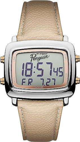 Original Penguin OP5017SL - Reloj digital de cuarzo para hombre, correa de cuero color beige: Amazon.es: Relojes