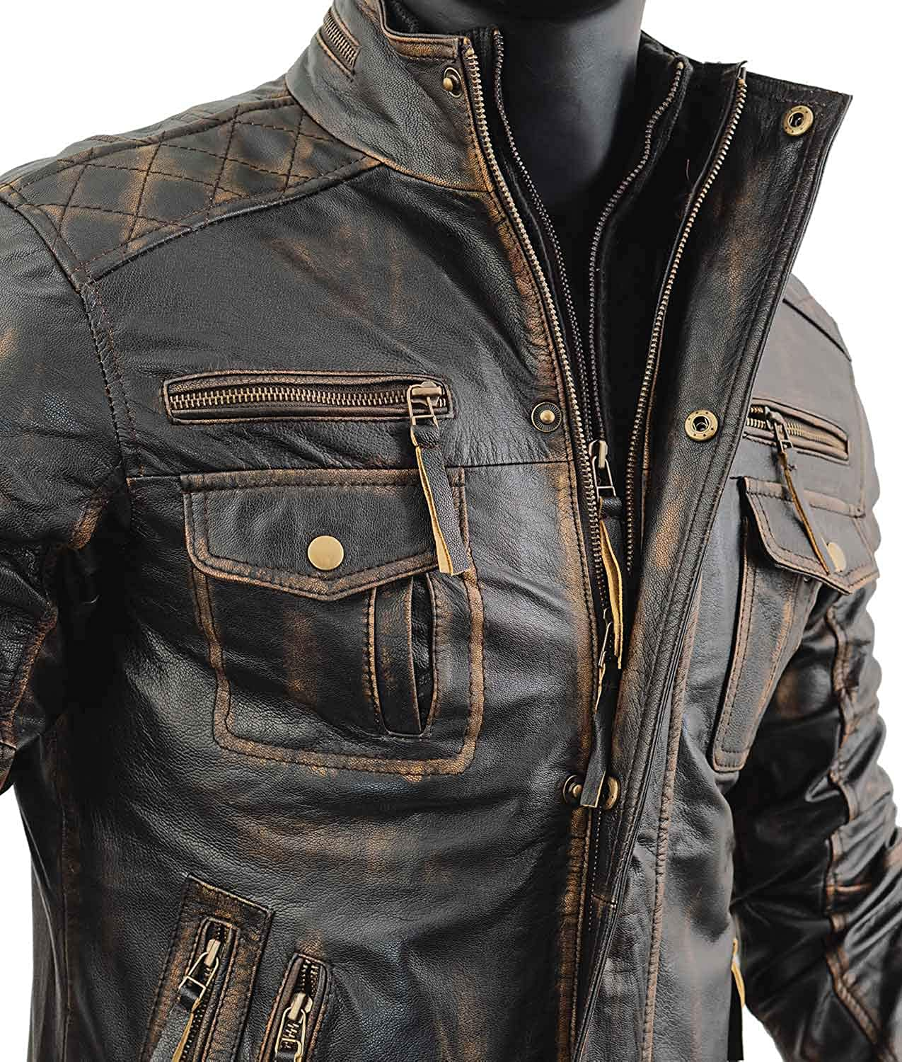 Abbraci Men/'s Motorcycle Biker Slim Fit Vintage Distressed Brown Cafe Racer Real Leather Jacket