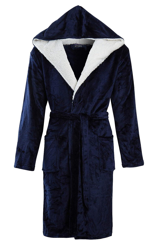 STONEBRIDGE Mens Luxury Super Soft Men Dressing Gown Hooded Bathrobe Navy//Hooded, Large